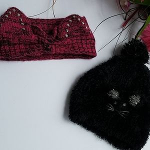 CLAIRE 2/1 Black cat hat & maroon cat ear headwrap